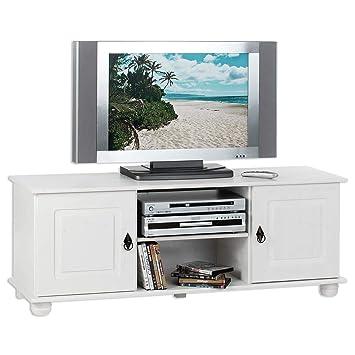 idimex tv lowboard belfort kiefer massiv weiss 133 x 50 cm fernsehtisch schrank bank rack