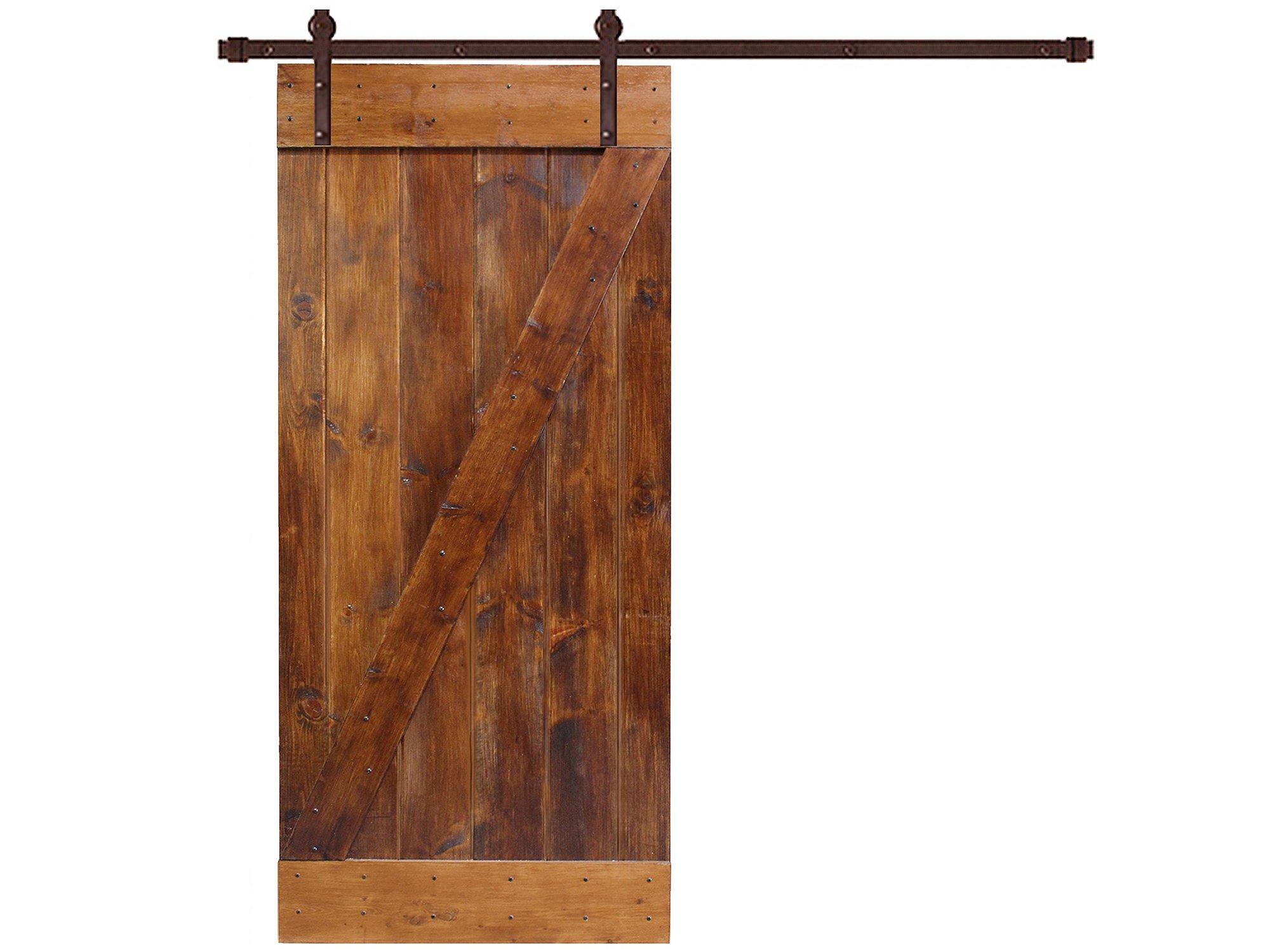 TMS 6.6 FT Sliding Hardware Set+ Solid Interior Barn Knotty Wood Painted Door Slab