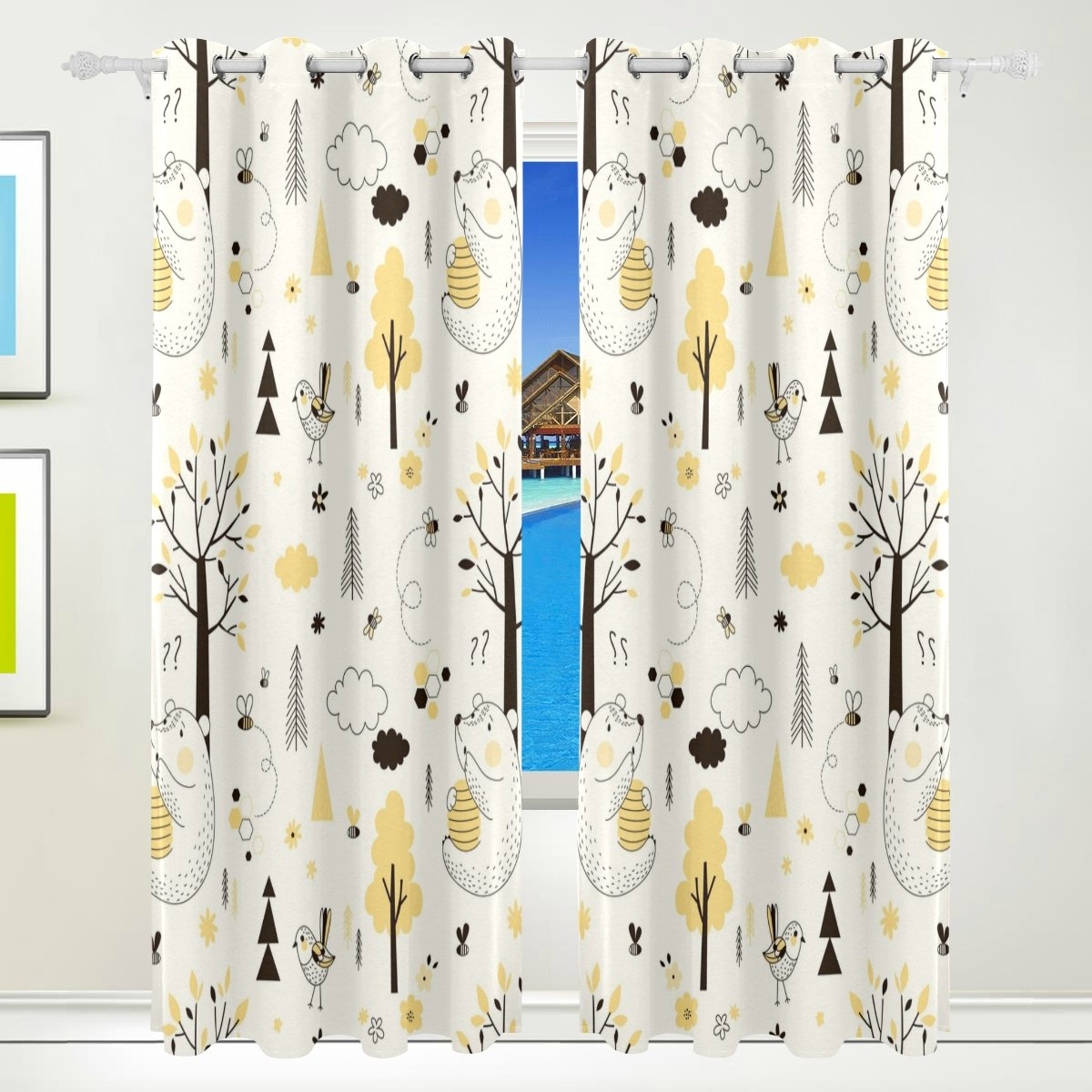 Vantaso Window Curtains 84 Inch Long Cute Forest Animal Bird Bear Yellow Beige for Kids Girls Boys Bedroom Living Room Polyester 2 Pannels