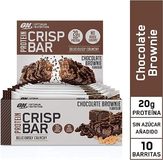Optimum Nutrition Protein Crisp Bar Barritas Proteínas con Whey Protein Isolate, Dulces Altas en Proteína y Low Carb, Chocolate Brownie, 10 Barras (10 ...