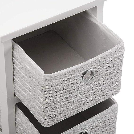 Versa 20100008 Cajonera baño blanco 3 cestas, Madera 56x25x30cm, Cajón cestos