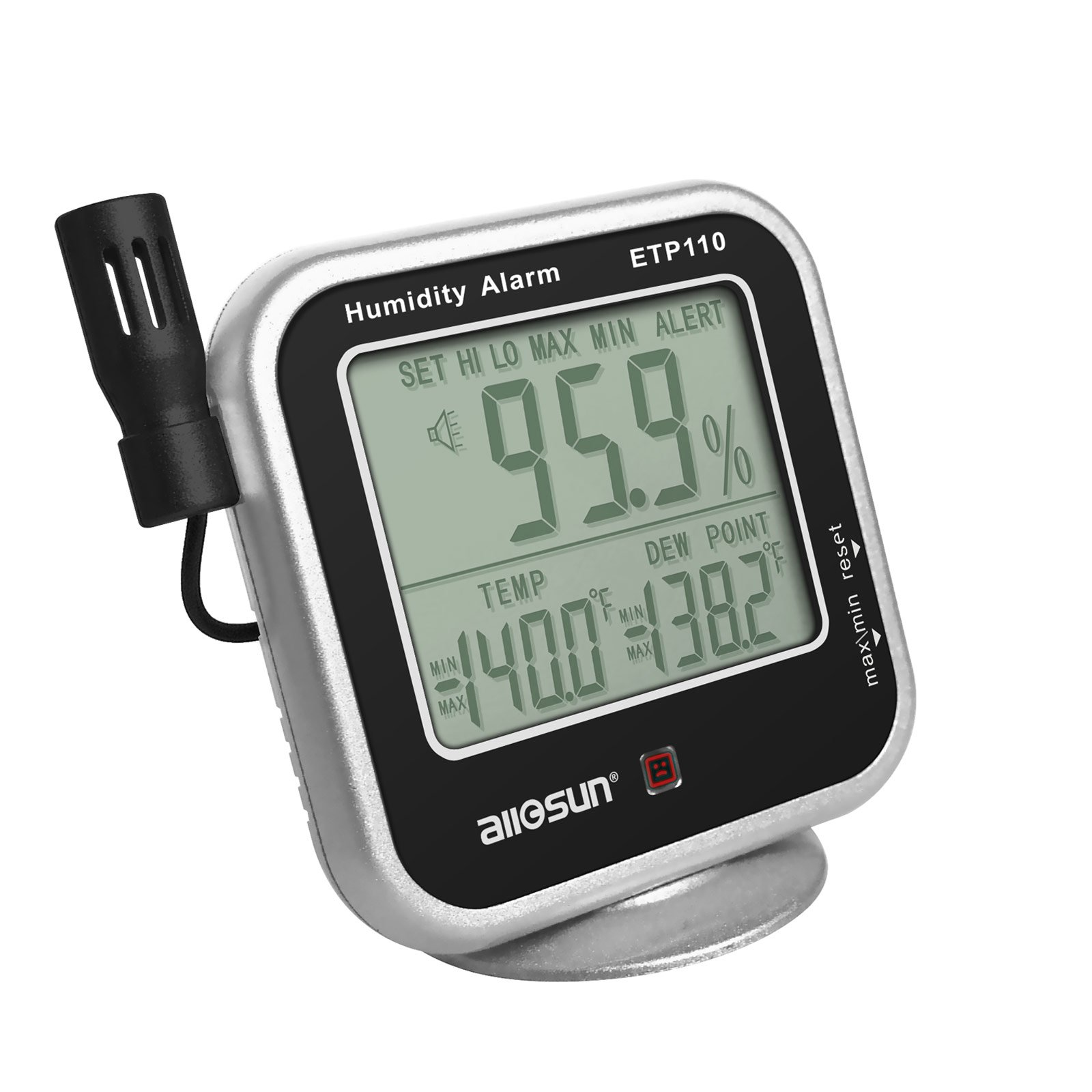 all-sun Digital Thermo-hygrometer with Temperature Alarm & Remote Probe/ Humidity Monitor / Dew-point Meter by all-sun