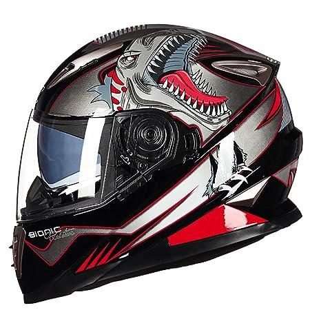 MATEROP Casco de Motocicleta de Doble Cara y Cara Completa con Sistema de Bloqueo Sheld Casco de Moto Moto Casco: Amazon.es: Deportes y aire libre