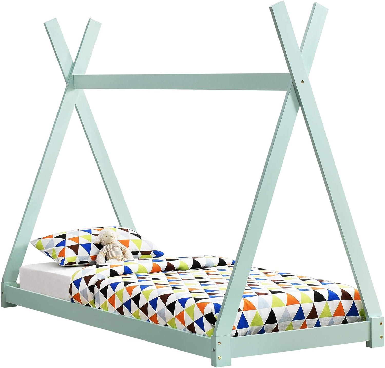 [en.casa] Cama para niños pequeños - Cama Infantil 200x90cm Estructura Tipi de Madera Pino Color Verde Menta