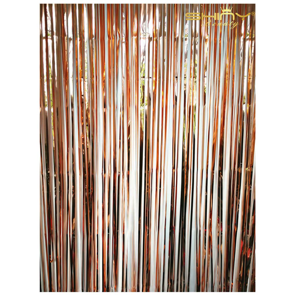 ShiDianYi Tinsel Foil Fringe Curtain Photo Booth Wedding Backdrop Metallic Foil Fringe Curtains Goer Tangled Party Supplies Birthday Decorations -190424S (20 Pack, Rose Gold)