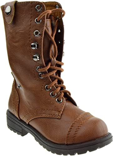 Soda Dome IIS Girls Youth Brown Lace Up Zipper Combat Style Boots