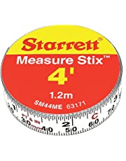 """Starrett Measure Stix SM44ME Steel White Measure Tape with Adhesive Backing, English/Metric Graduation Style, Left to Right Reading, 4' (1.2m) Length, 0.5"""" (13mm) Width, 0.0625"""" Graduation Interval"""