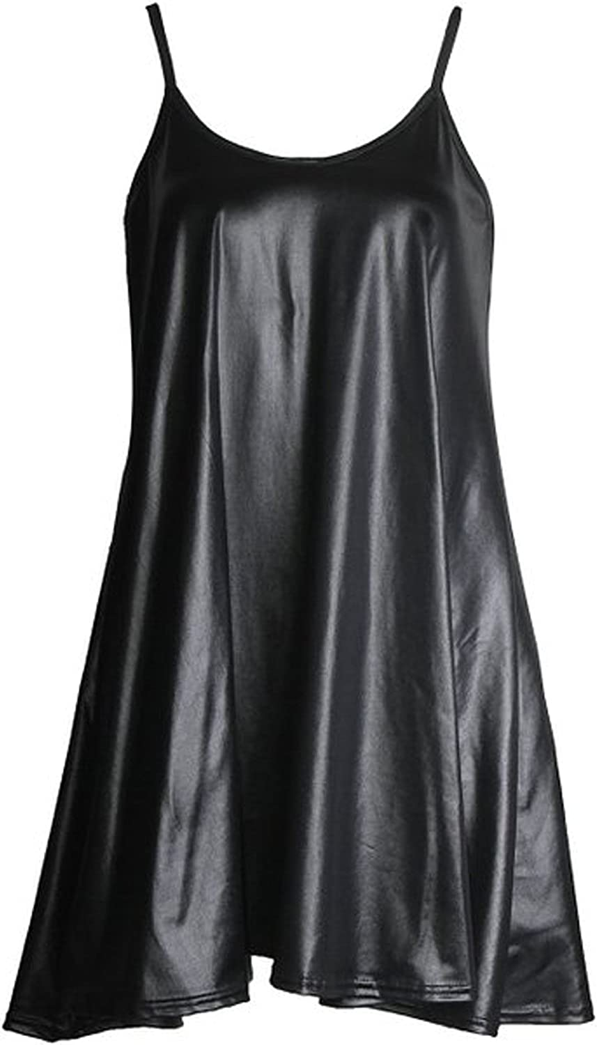 Women/'s Camisole Cami Flared Skater Strappy Vest Top Swing Dress Wet Look