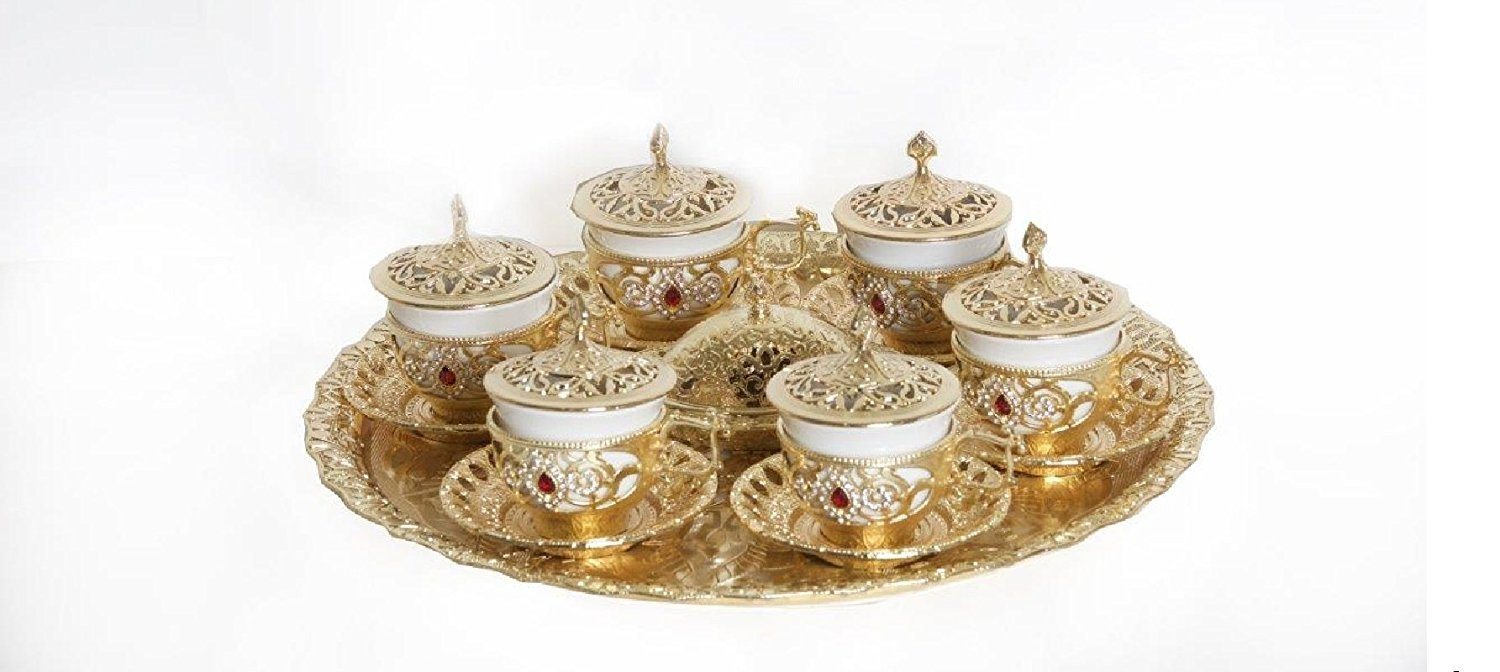 26 Piece Traditional Turkish Style Gawa Coffee Serving Set with Colored Stone Insets (Antique Gold)