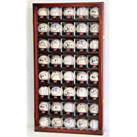 40 Baseball Arcylic Cubes Display Case Cabinet Holders Rack w/ UV Protection, Cherry