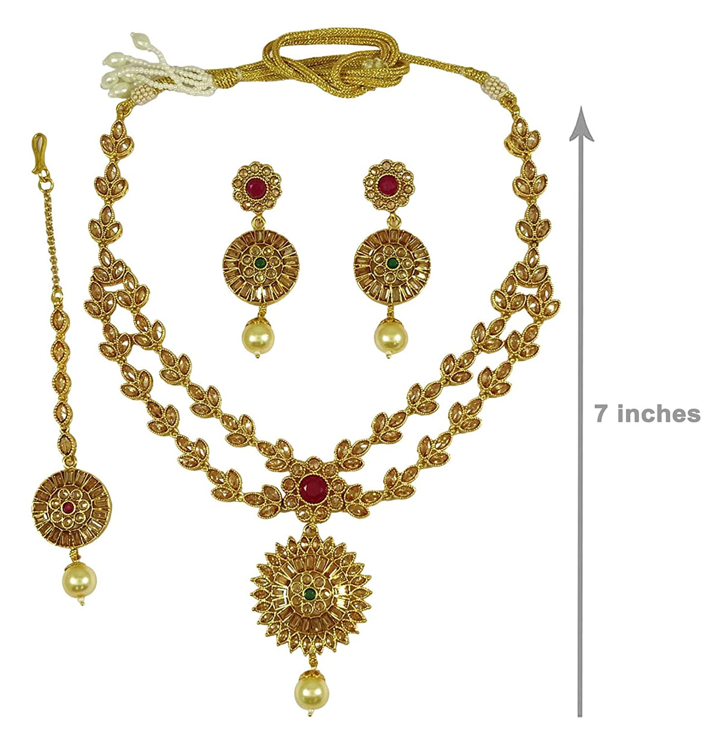 Traditional Indian Goldtone Cz Stone Necklace Set Designer Women Party Jewellery Bridal & Wedding Party Jewelry