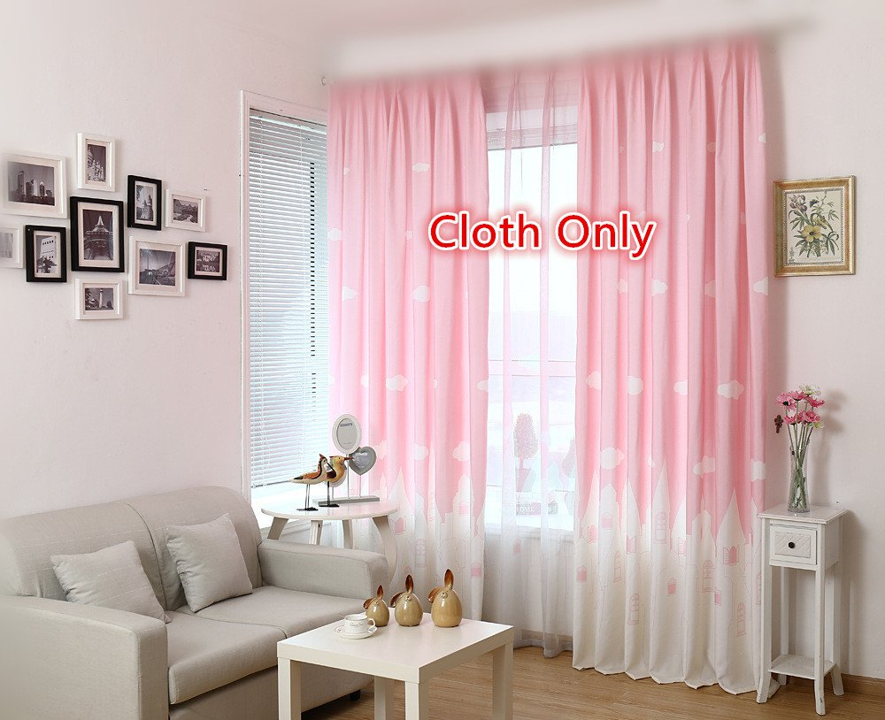 WPKIRA Window Treatments Kids Angels City Semi-Blackout Printed Curtains Fresh Light Filtering Panels Window Drapes Screens Grommet Top For Girls Bedroom, 1 Panel Pink W40 by L63 inch