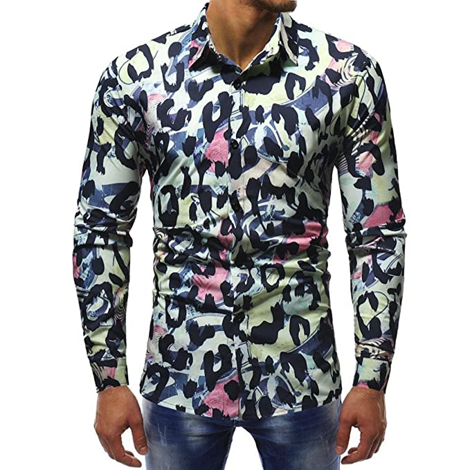 kaifongfu Mens Shirts,Clearance Leopard Printed Blouse Long Sleeve Slim Shirts Tops for Men (