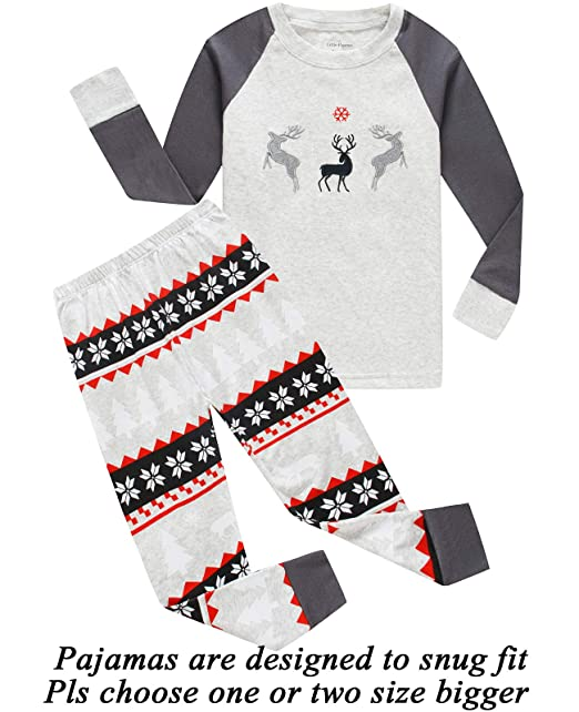 bcf6e18a4 Amazon.com  Boys Girls Christmas Pajamas Reindeer Cotton Toddler ...