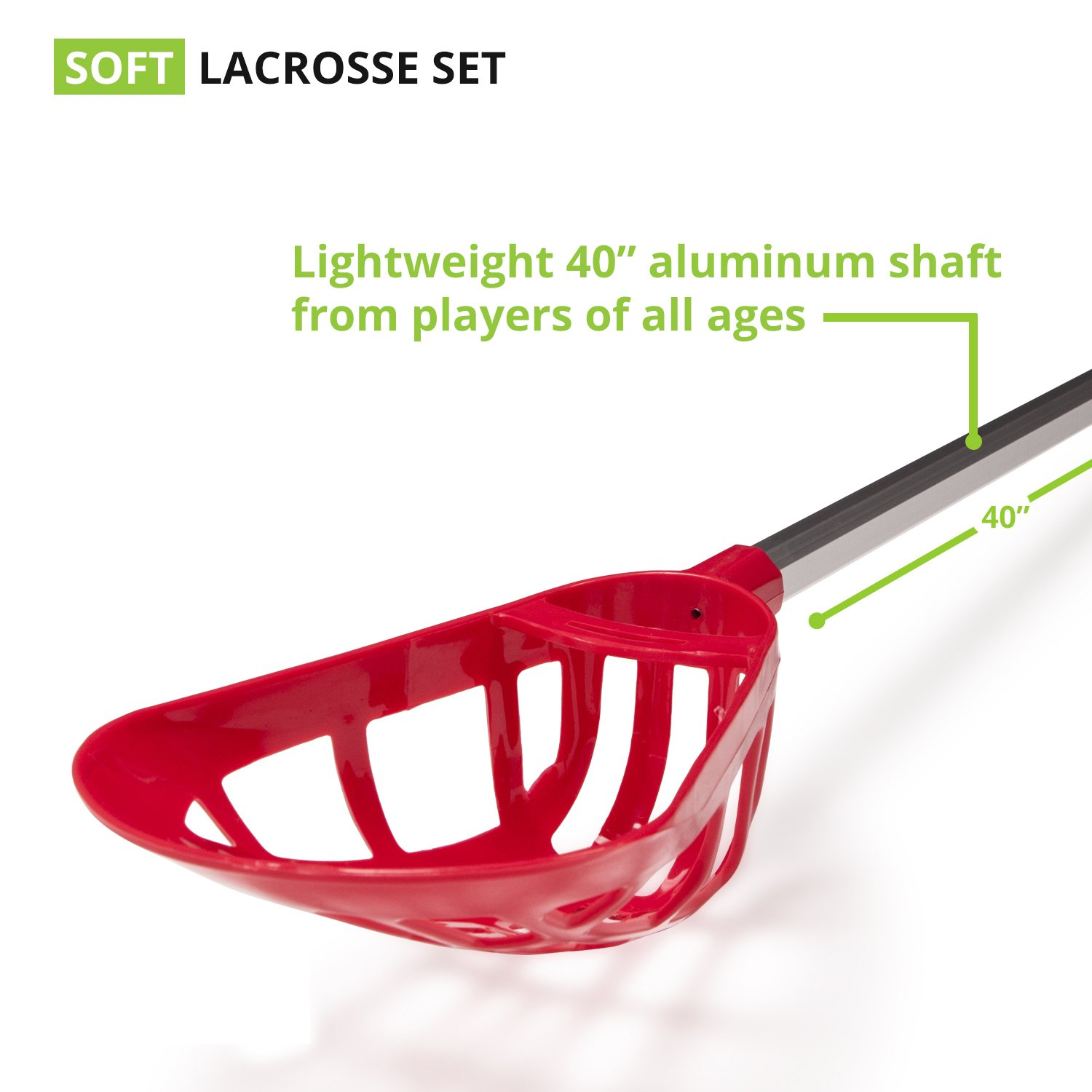 Champion Sports Soft Lacrosse Set: Training Equipment for Boys, Girls, Kids, Youth and Amateur Athletes - 12 Aluminum Sticks and 6 Vinyl Balls for Indoor Outdoor Use by Champion Sports (Image #4)