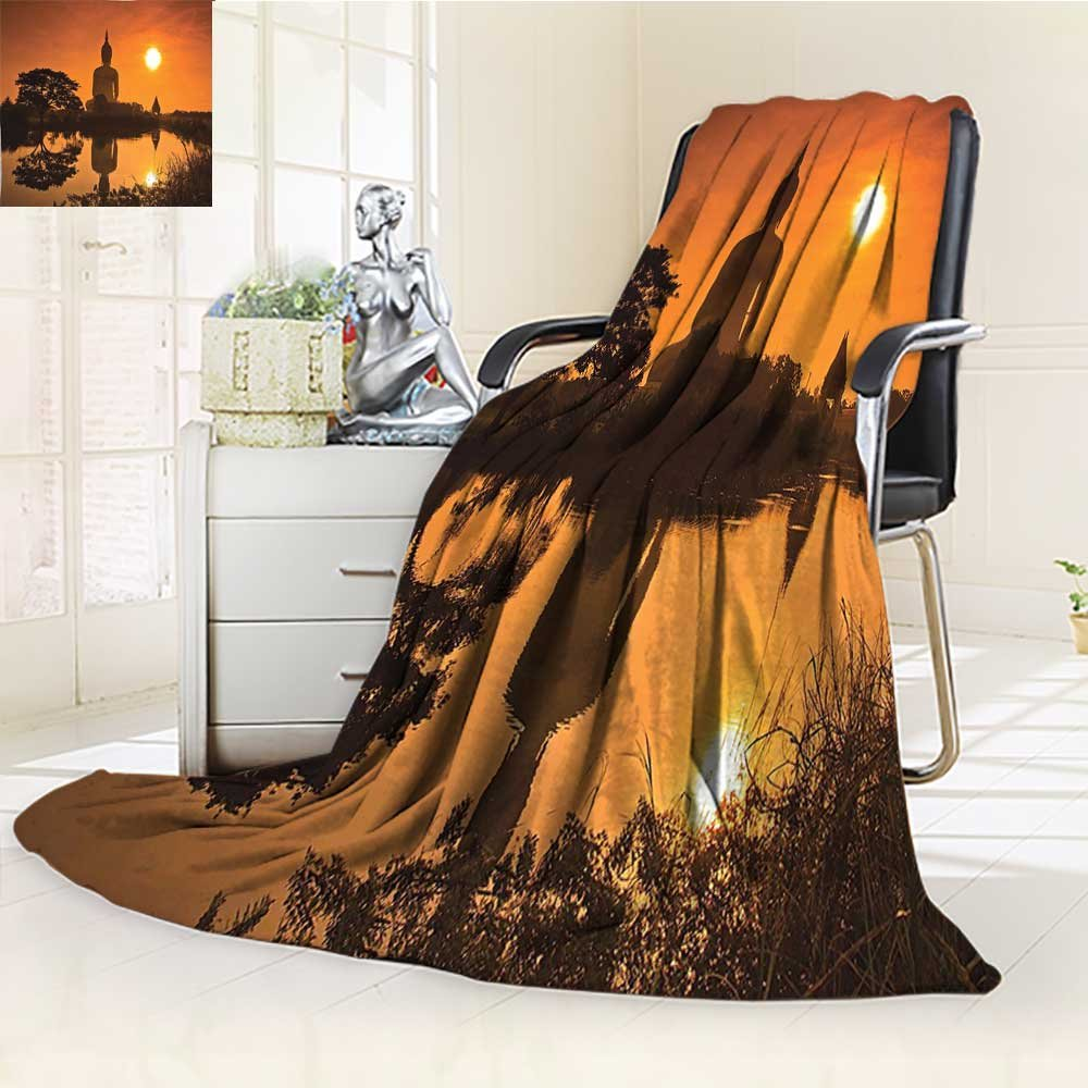 AmaPark Custom Design Cozy Flannel Blanket YogaGiant Statue by the River at Thai Asian Culture Scene Yin Yang Custom Design Cozy Flannel Blanket by AmaPark