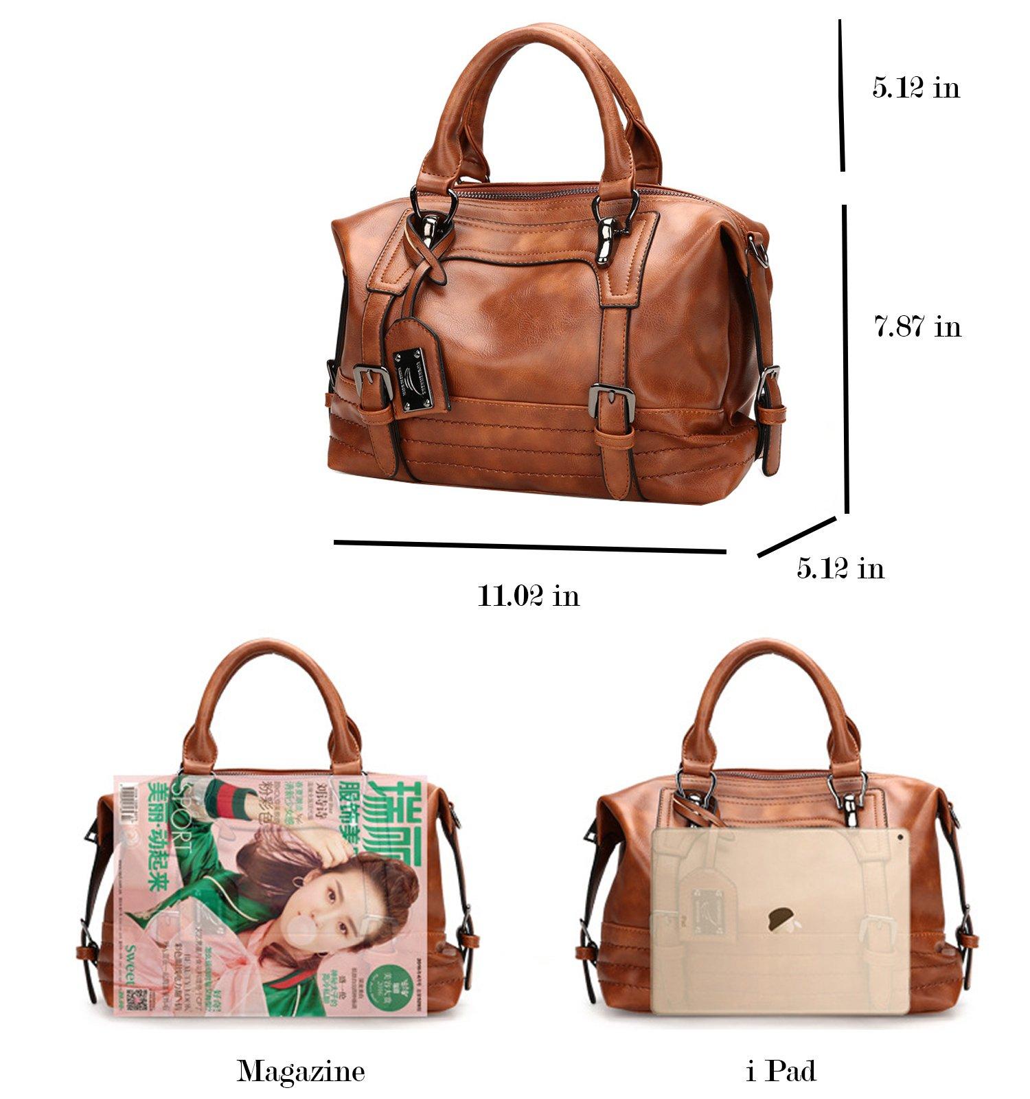 Juilletru Black Women Tote Bags PU Leather Handbags Top Handle Vintage Purse Crossbody Shoulder Bag by Juilletru (Image #6)