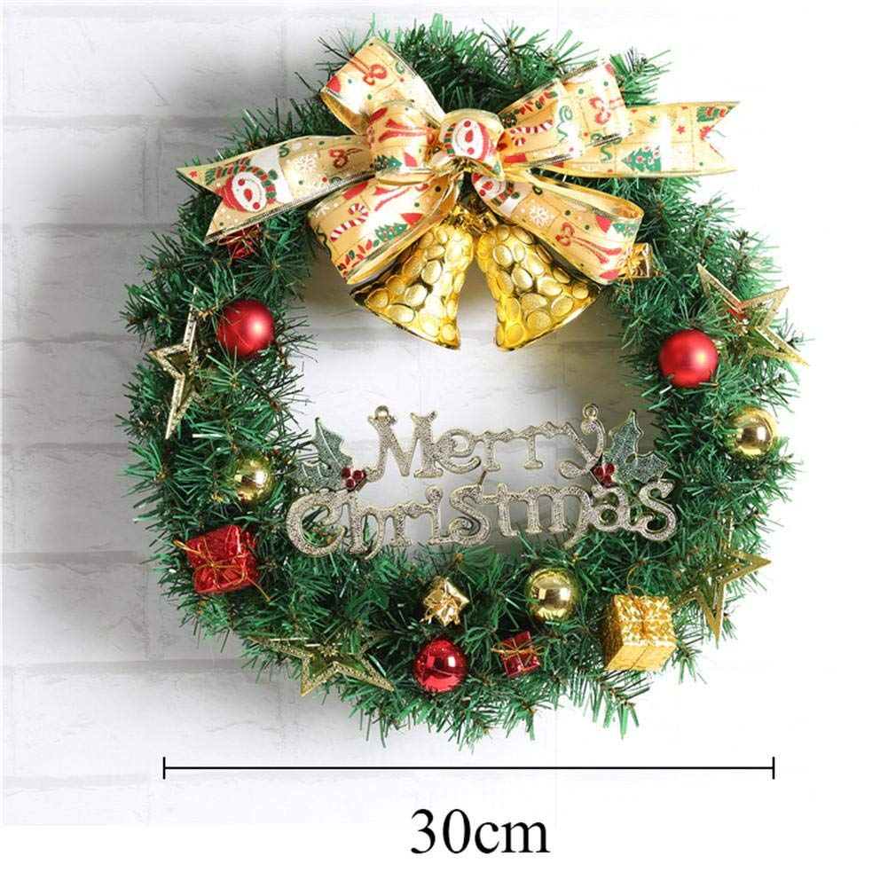 Ribbon Bell Christmas Wreath Artificial Wreath Decorative Wreath Home Window Shopping Mall Hotel Decoration Christmas Decoration by Topaty (Image #6)