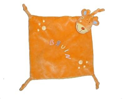 Doudou plat Vache girafe Cheval BRUIN Toysr Us - Satin jaune 4 noeuds