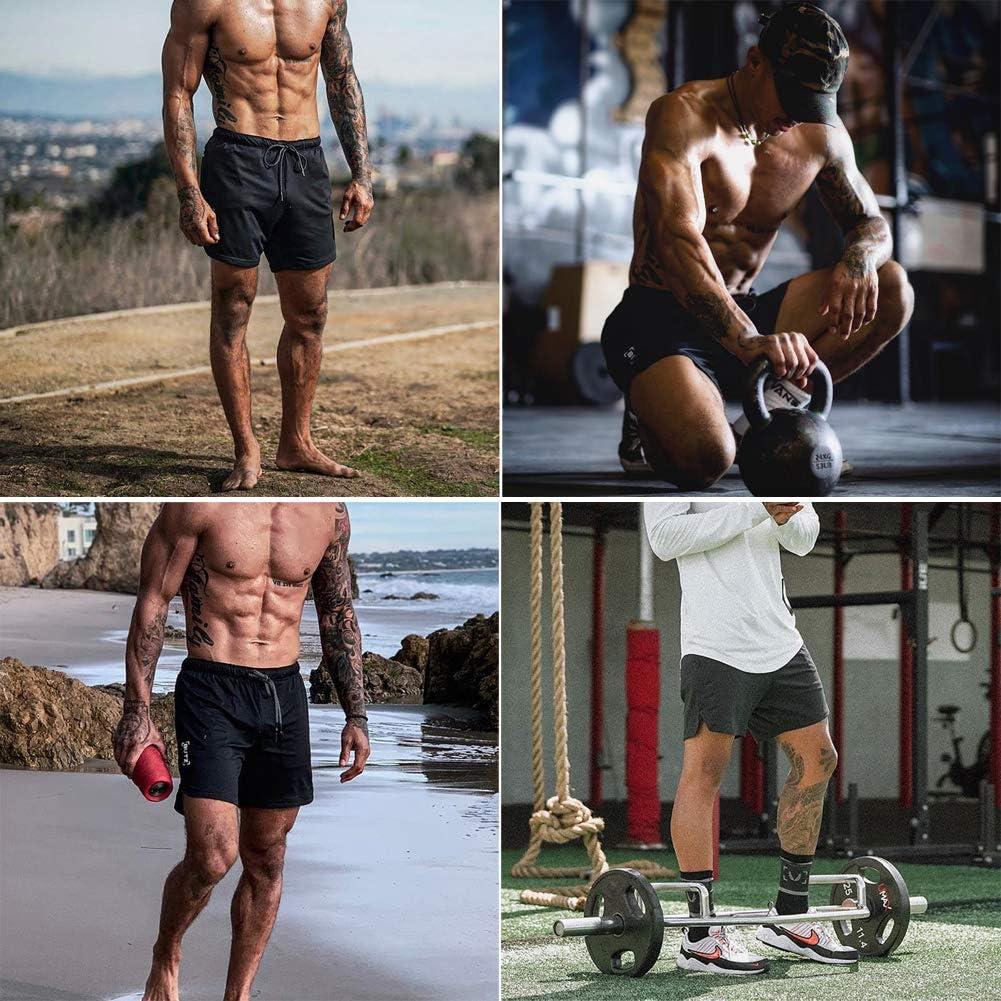 HANERDUN Men 2 in 1 Workout Running Athletic Shorts Sport Pants with Pocket: Clothing