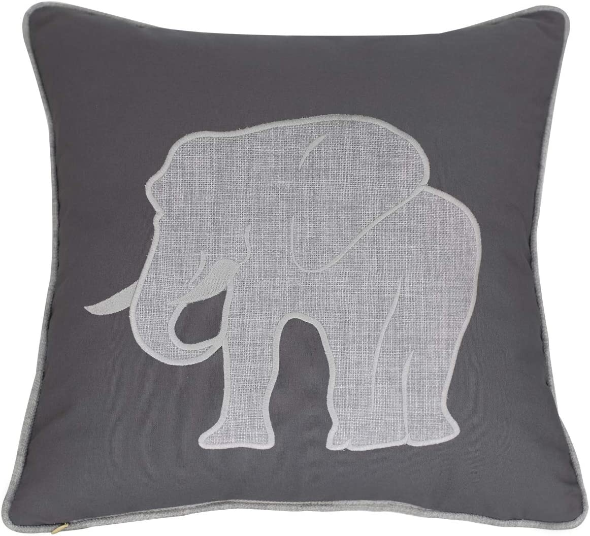 Millianess Elephant Pillow Case Decorative Cotton Linen Embroidered Cushions Covers 18x18 Inches (Grey)