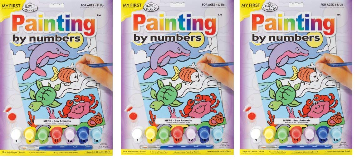 ROYAL BRUSH MFP-6 My First Paint by Number Kit, 8.75 by 11.375-Inch, Sea Animals (3-Pack)