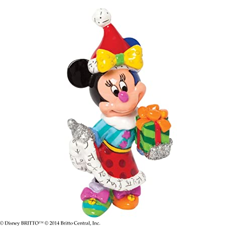 Enesco Disney by Britto Gift Gift Santa Minnie 3.375-Inch Figurine, Mini