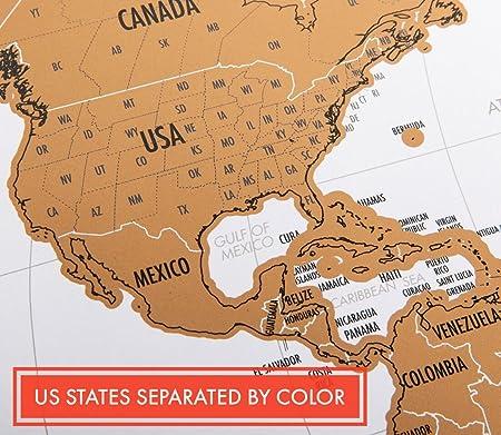 Amazoncom Landmass Scratch Off World Map Poster Original Travel - Amazon map of us