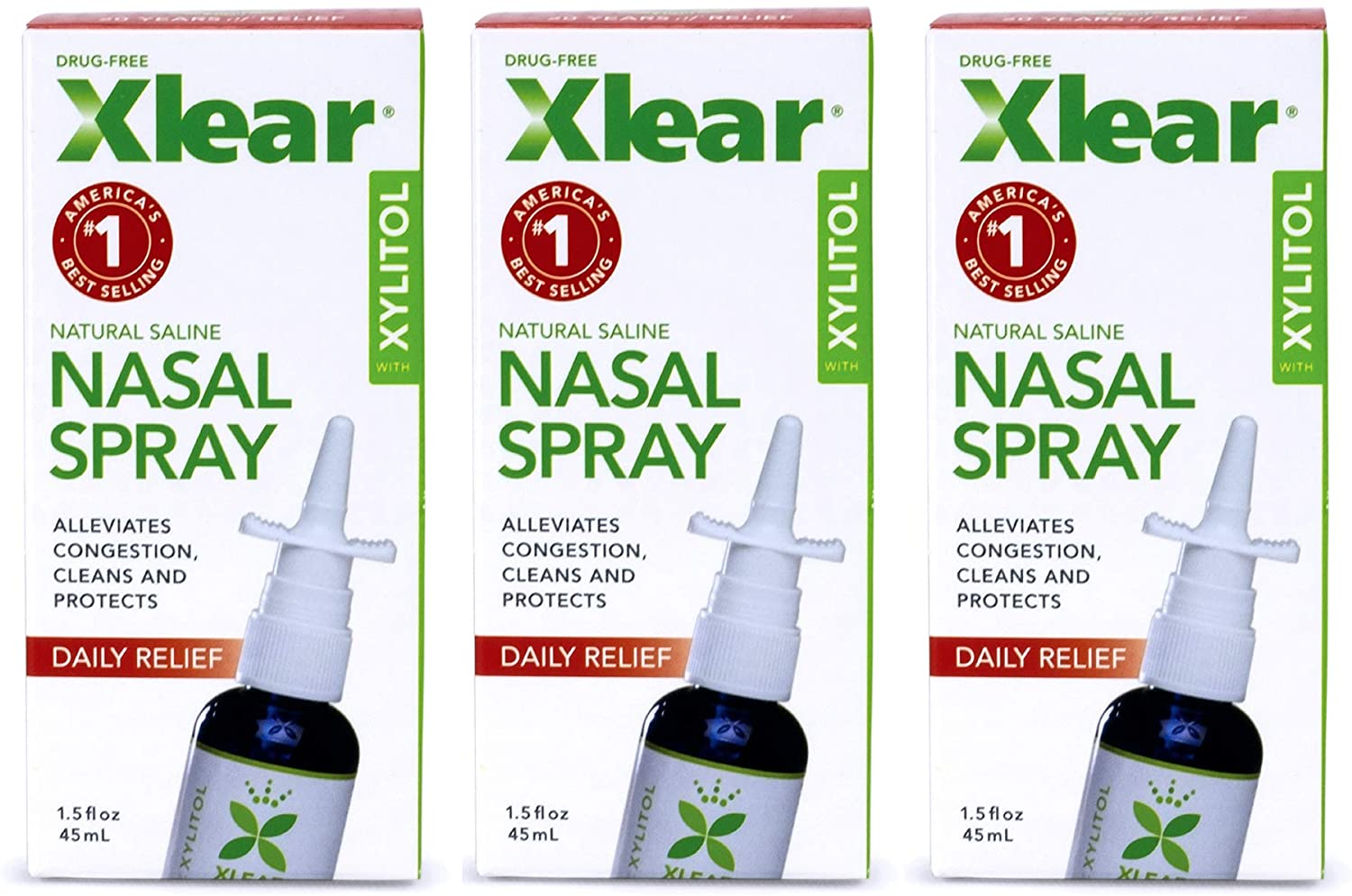 Xlear Nasal Spray with Xylitol, All-Natural Saline Nasal Spray for Sinus Rinse & Sinus Relief 1.5 fl oz (3 Pack): Health & Personal Care