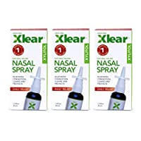 Xlear Nasal Spray with Xylitol, All-Natural Saline Nasal Spray for Sinus Rinse & Sinus Relief 1.5 fl oz (3 Pack)