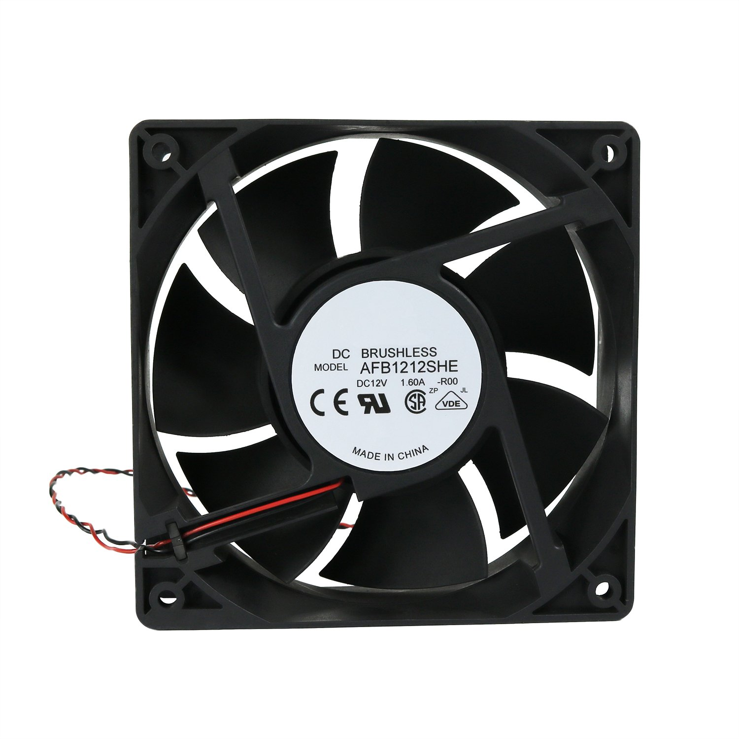 Generic 120x38mm Cooling Fan, Replace AFB1212SHE High CFM Cooling Fan, 120mm by 120mm by 38mm with 2Pin 2Wire Connector (12V DC)