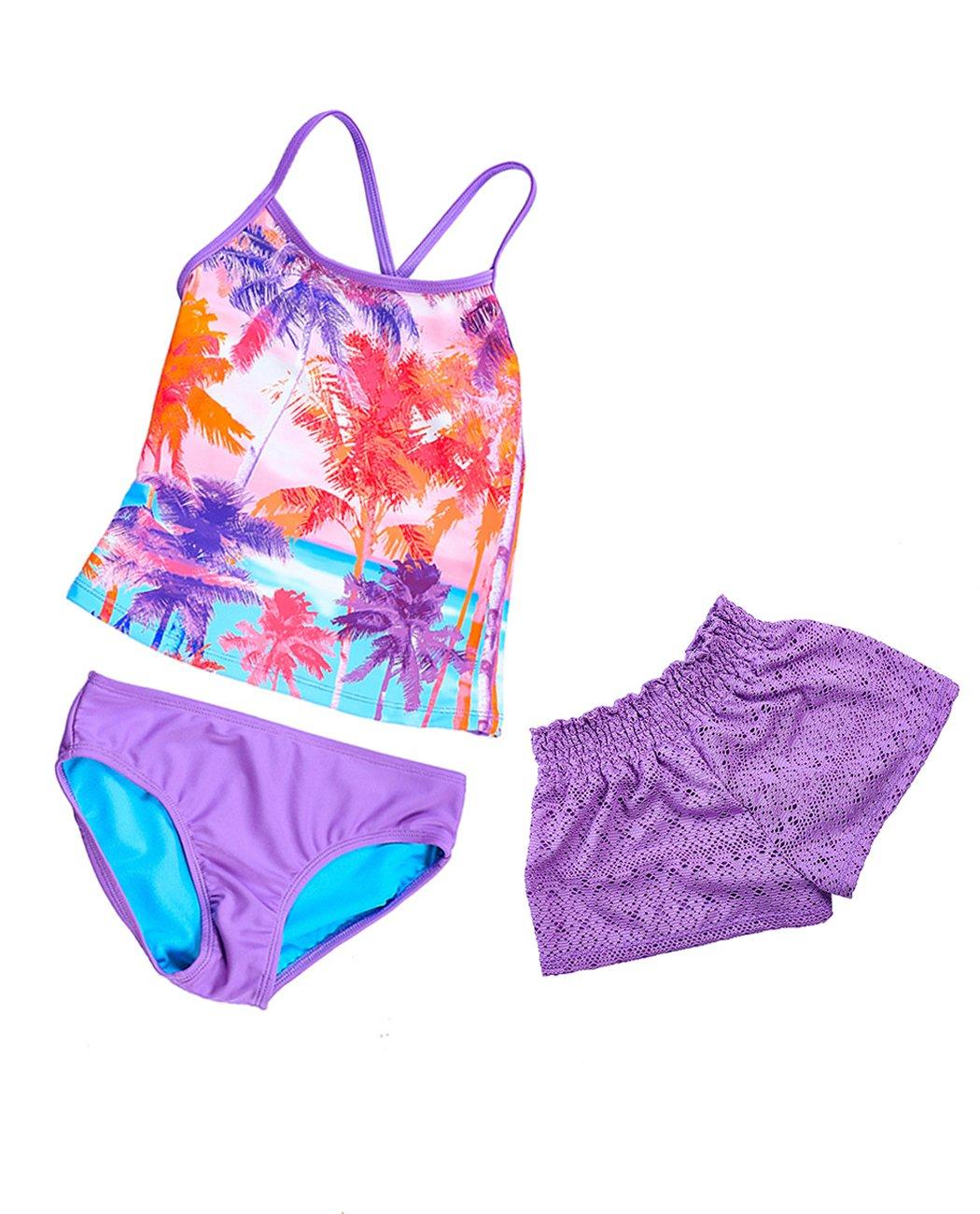 3 Piece Swimwear for Girls, Criss Cross Bathing Suit Cute Purple Siwmsuit with Jacquard Beach Boyshort