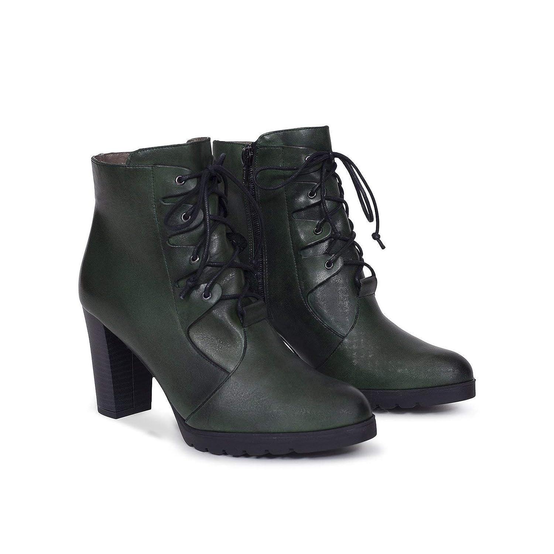 Cordones - Botín Mujer con tacón Verde: Amazon.es: Zapatos y complementos