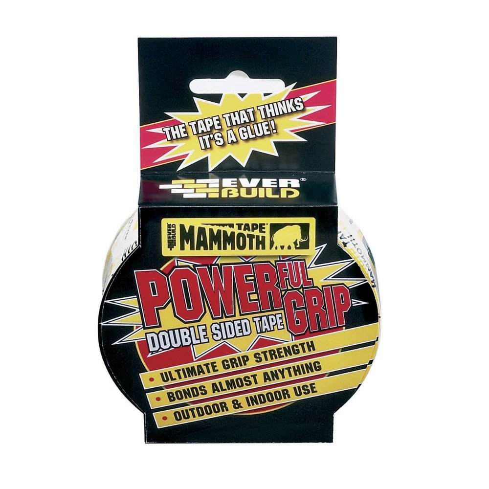 Mammoth Powerful Grip Tape - Re-enforced double-sided tape - 12mm x 2.5m - Clear Everbuild 2POWERGRIP12-EBD