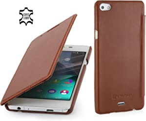 StilGut Book Type Case Senza Clip, Custodia in Vera Pelle a Libro per Wiko Highway Pure, Cognac
