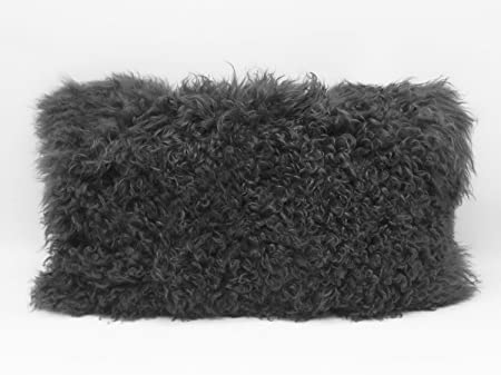 Fennco Styles Luxury Genuine Mongolian Lamb Fur Down Filled Decorative Throw Pillow Slate, 12 x20 Case Only