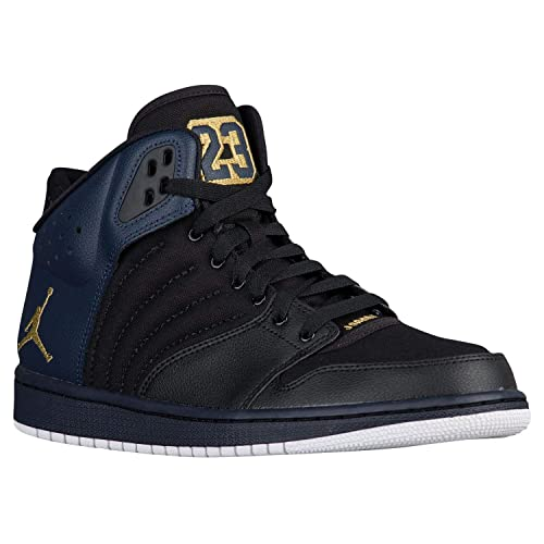 new product b1790 08556 Nike Mens Air Jordan 1 Flight 4 PREM Hi Top Basketball Shoes, Black Metallic