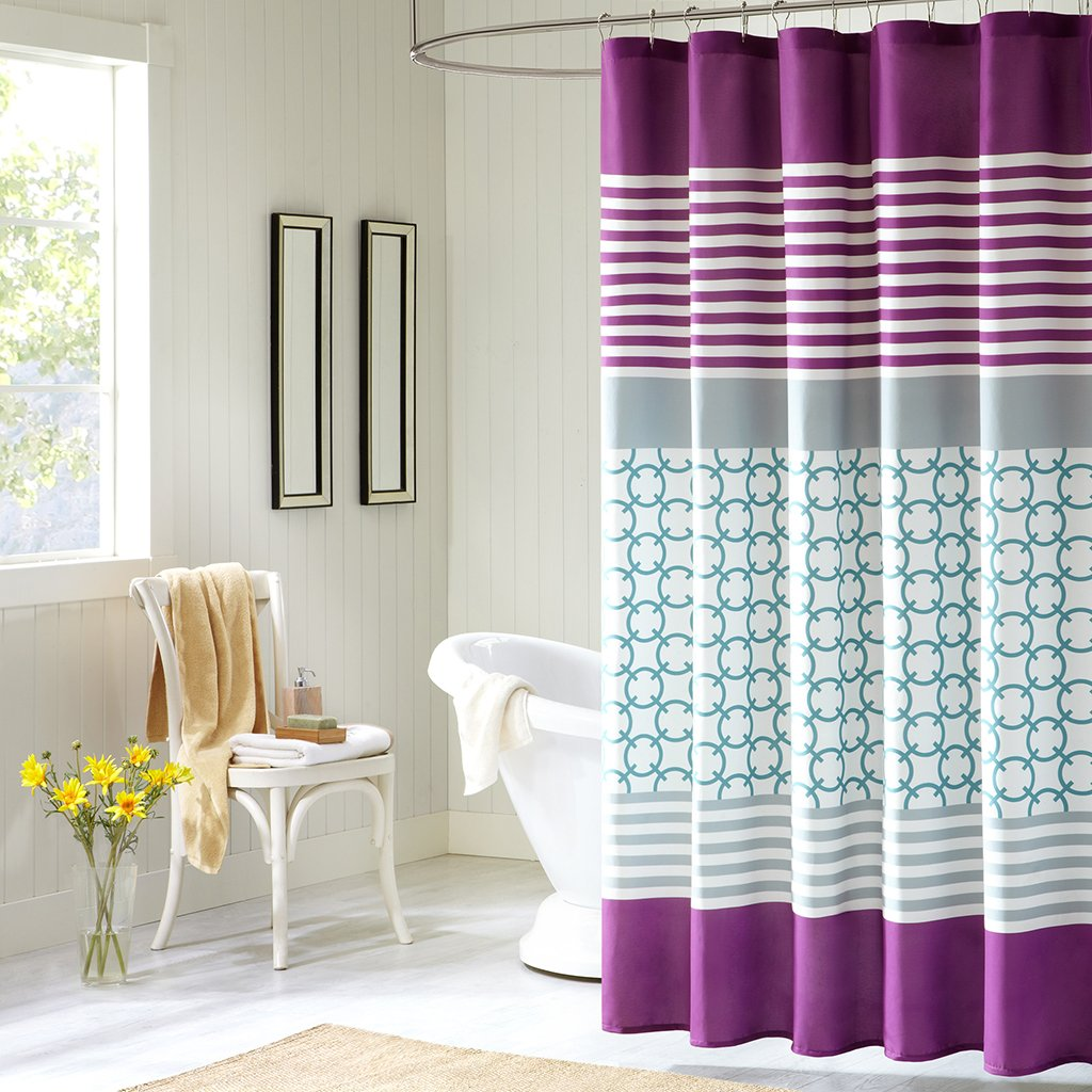 yellow and purple shower curtain. Amazon com  Intelligent Design ID70 050 Halo Shower Curtain 72 x Purple Teal Home Kitchen