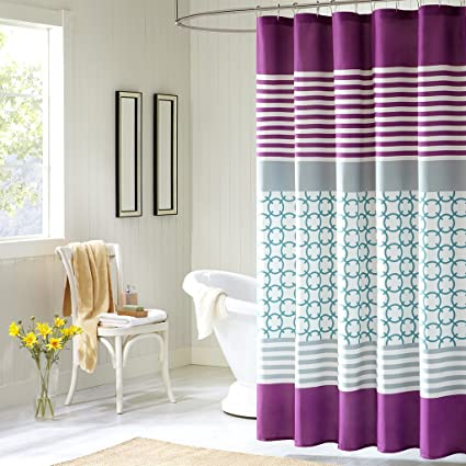 Amazon Intelligent Design Halo Shower Curtain Purple 72x72
