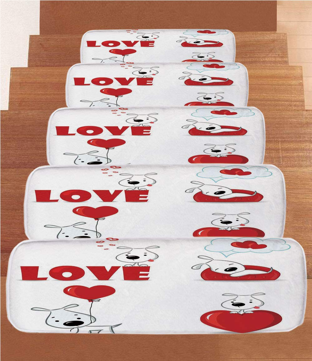 iPrint Non-Slip Carpets Stair Treads,Love Decor,Set of Funny Dogs with Heart Symbols Love My Pet Best Friends Companions Ever Animal Theme,Red White,(Set of 5) 8.6''x27.5''