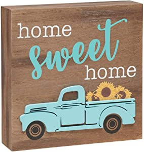 Rustic Pickup Truck Wood Box Sign (Home Sweet Home)