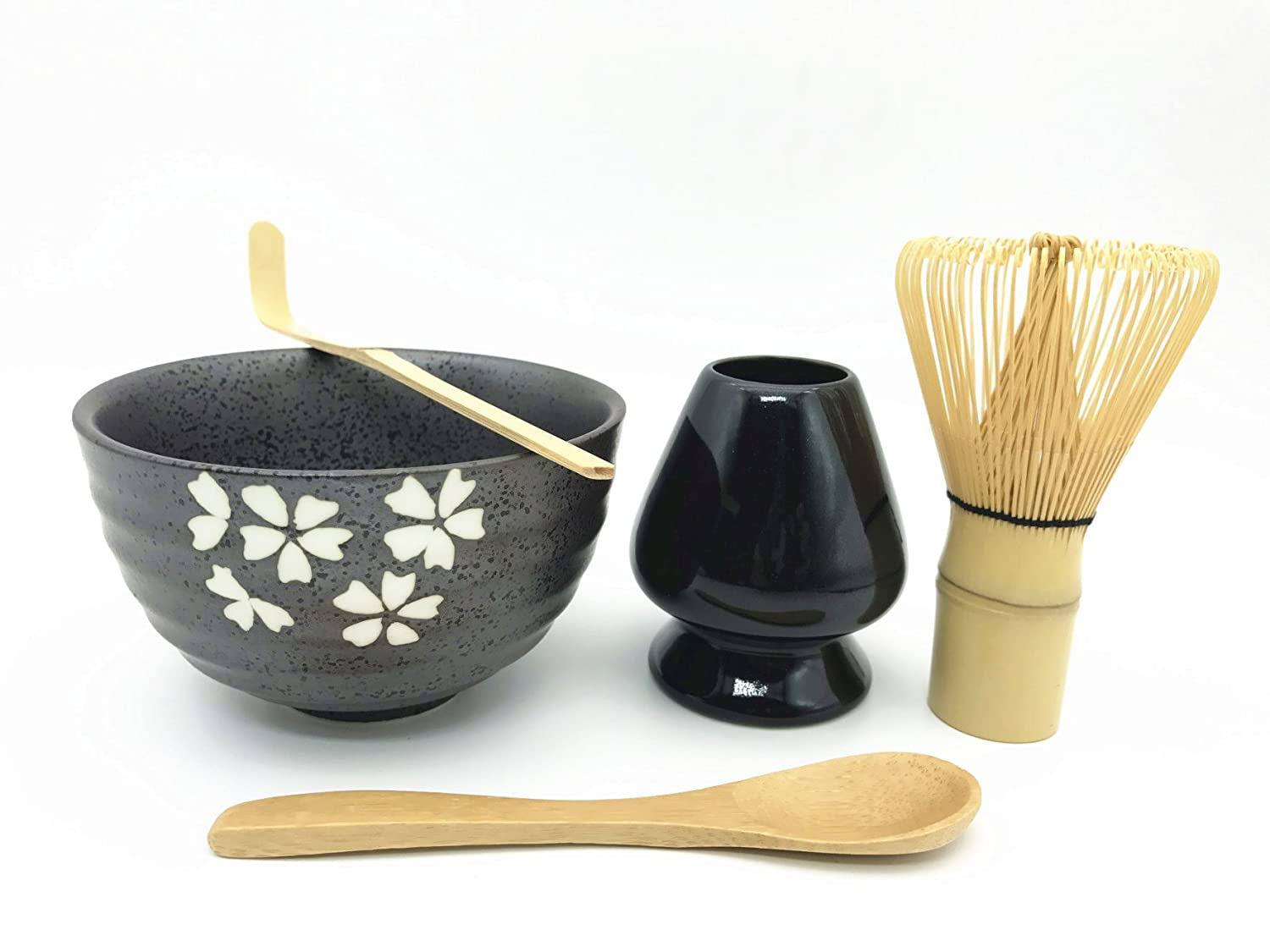 Home Soul Gift box Matcha Tea Ceremony Set, Include 5 Items:Bamboo Whisk Chasen, Whisk Holder, Bamboo Spoon & Scoop, Ceramic Matcha Bowl-Complete Matcha Start Up Kit (Black)