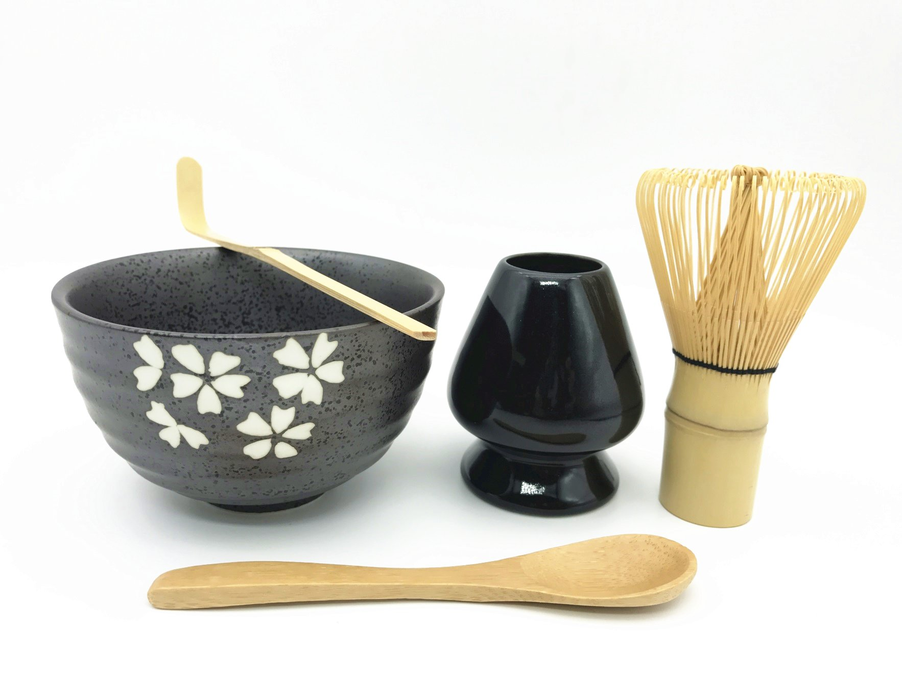 Home Soul Gift box Matcha Tea Ceremony Set,Include 5 Items:Bamboo Whisk Chasen,Whisk Holder,Bamboo Spoon & Scoop,Ceramic Matcha Bowl-Complete Matcha Start Up Kit (Black)