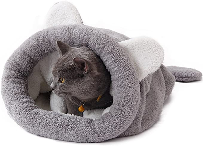 PAWZ Road 猫用 寝袋 ポケット かわいい猫耳付き クッション ペットベッド 猫 小型犬 秋冬 ふわふわ 防寒 保温 しっかり カサカサ グレイ
