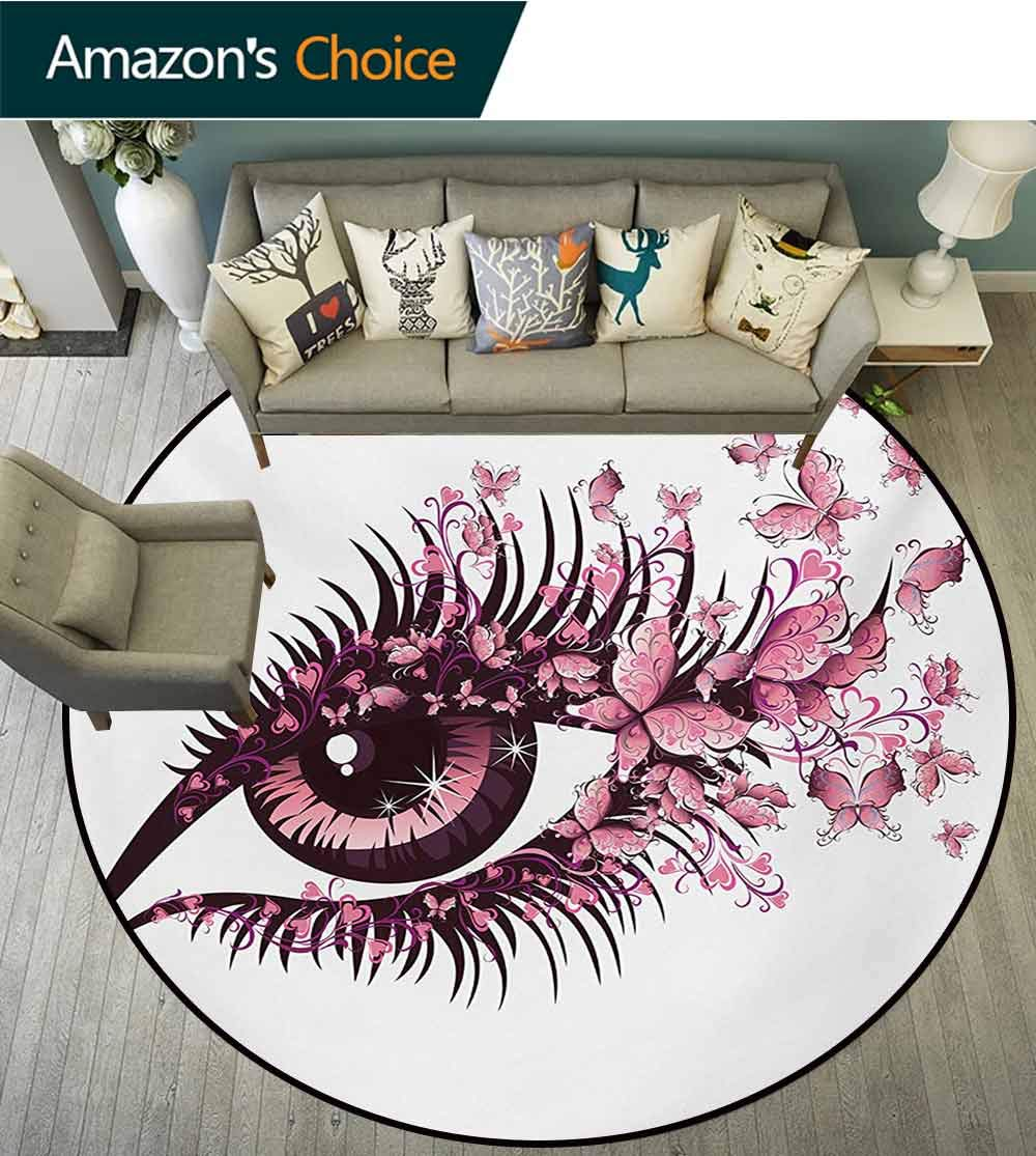 RUGSMAT Butterflies Small Round Rug Carpet,Fairy Female Eye with Butterflies Eyelashes Mascara Stare Party Makeup Door Mat Indoors Bathroom Mats Non Slip,Round-55 Inch Pale Pink Purple by RUGSMAT (Image #2)