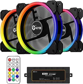 KZYEE 3 Unidades de Ventiladores RGB de 120 mm – Ventilador ...