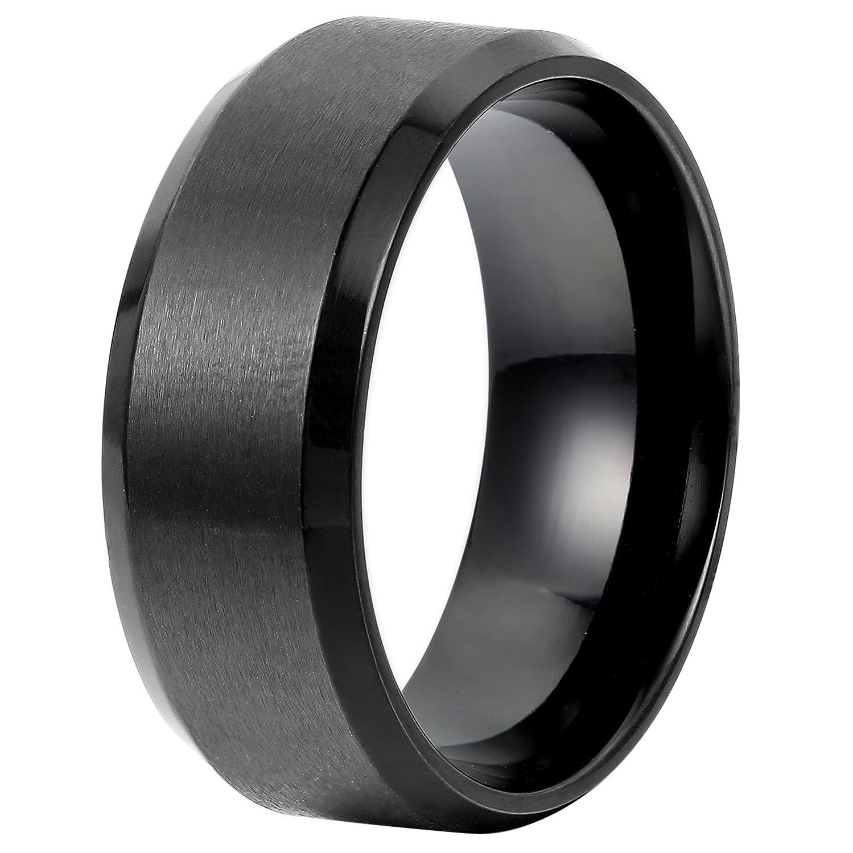 Flongo Anelli Uomo nero, Anello classico matrimonio impegno, Acciaio inossidabile 8mm, Stile retrò neutro, Anello unisex misurare 9-32