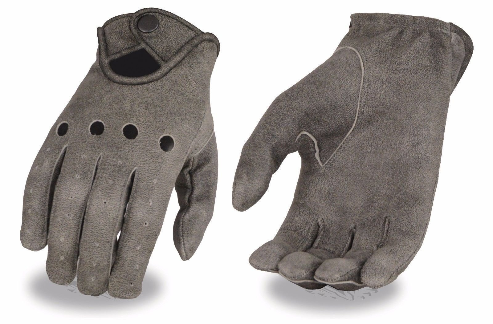 Mens perforated leather gloves snap unlined distressed grey riding snap closure(S)