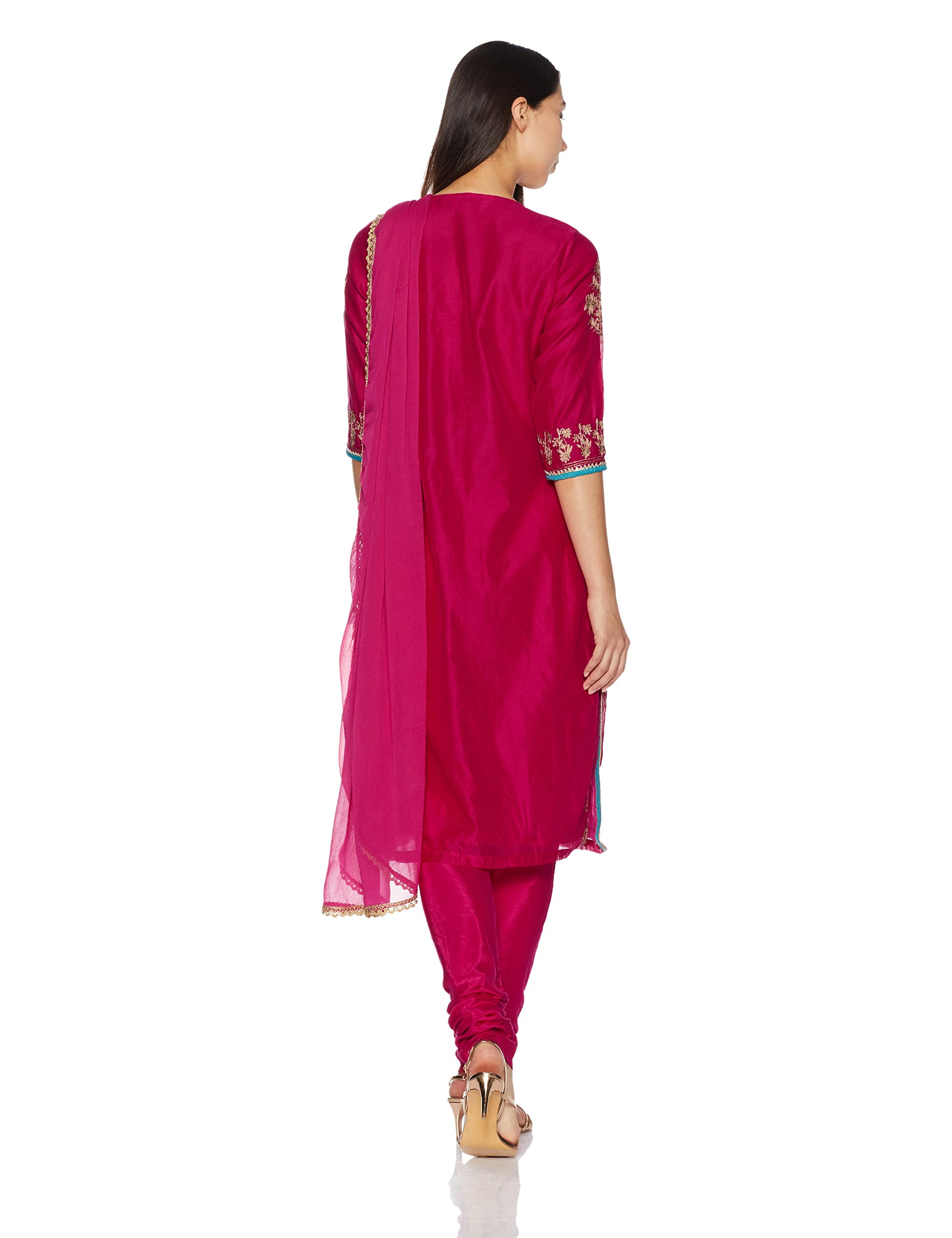 BIBA Women's Straight Poly Cotton Suit Set 42 Pink by Biba (Image #2)