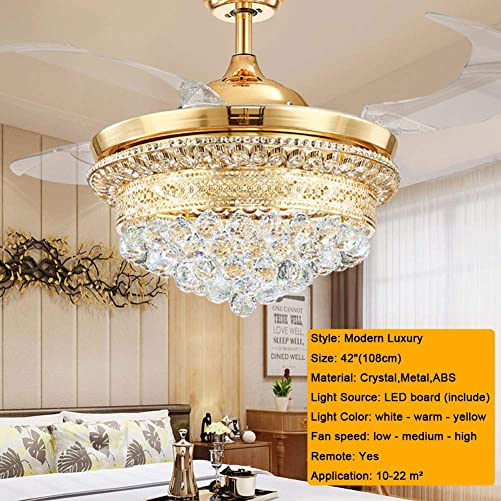 Fandelier Crystal Ceiling Fans with Lights and Remote, LED 3 Light Settings Modern Invisible Retractable Chandelier Fan for Dining Room Bedroom Ceiling Fans